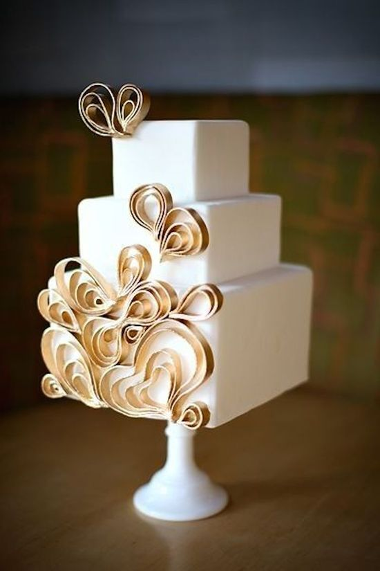 Contemporary Cake with Heart Details
