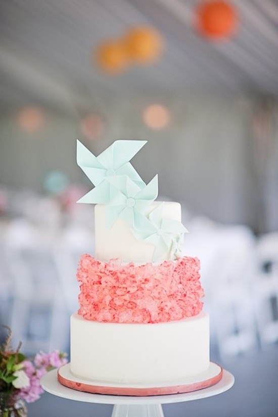 Pink and Light Blue Wedding Cake with Pinwheels