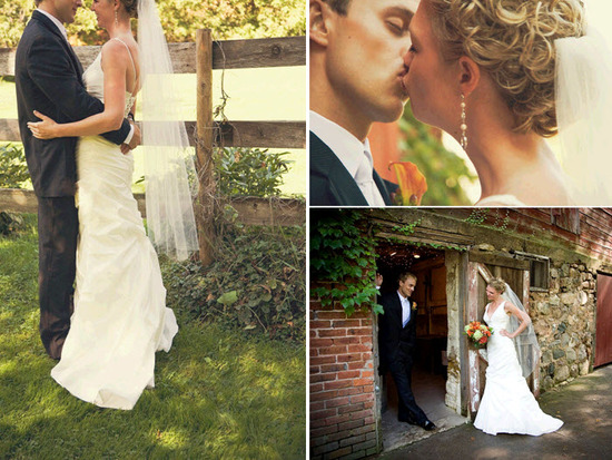 Bride, in ivory v-neck wedding dress, kisses groom near fence outside rustic farm