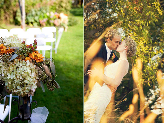 Beautiful autumn floral arrangements adorn wedding ceremony chairs; bride and groom kiss after sayin