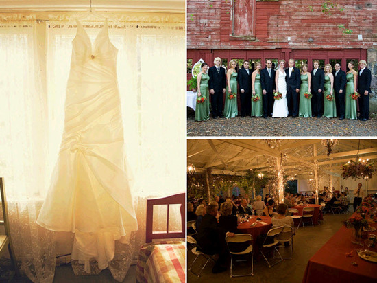 Bride's ivory v-neck wedding dress hangs in window; bridesmaids wear apple green long bridesmaids' d