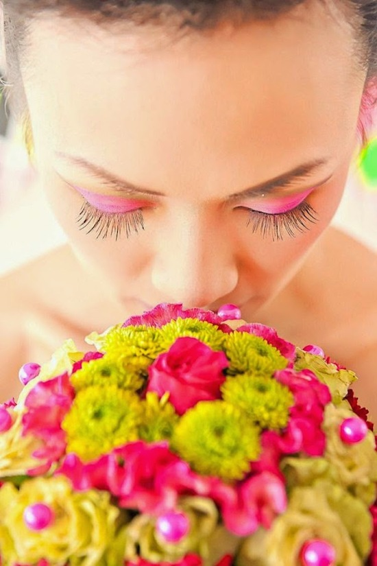 Neon Bridal Makeup and Bouquet