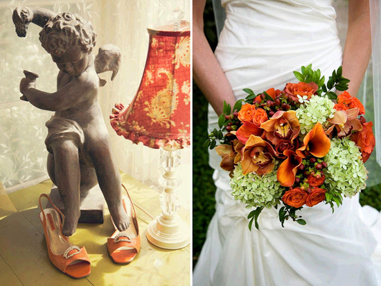 Bride's vintage orange open toe bridal heels and autumn burnt orange and green bridal bouquet were p