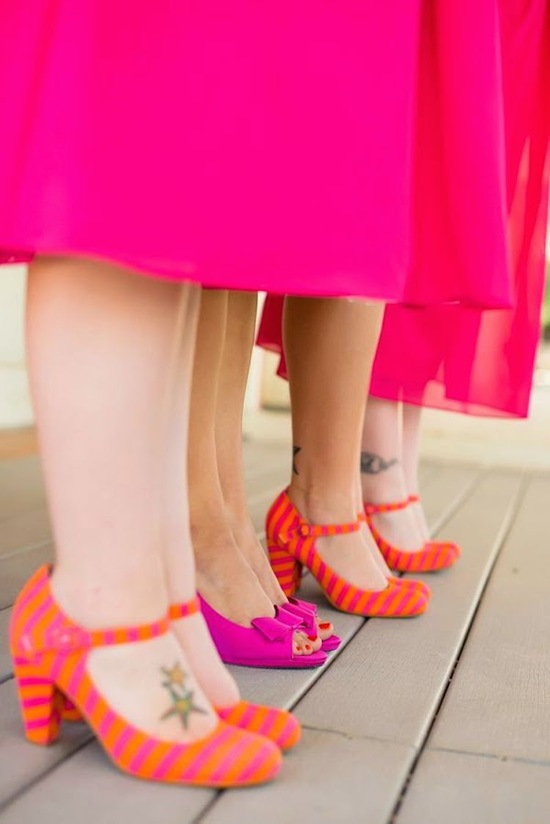 Fun and Modern Neon Bridemaid Dresses and Shoes