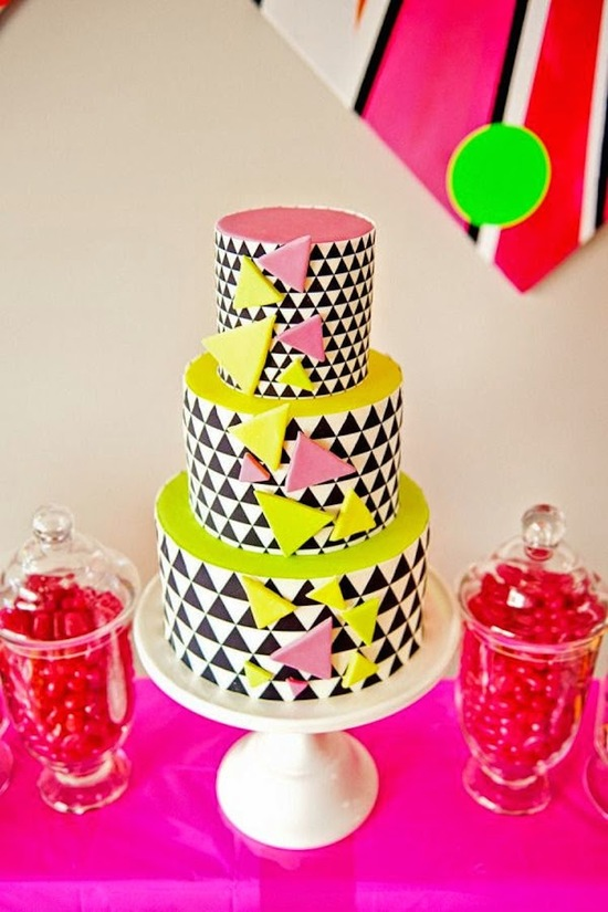 Modern and Graphic Neon Cake