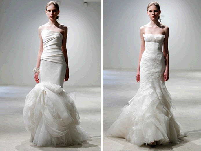 White Modern Mermaid Wedding Dresses By Vera Wang