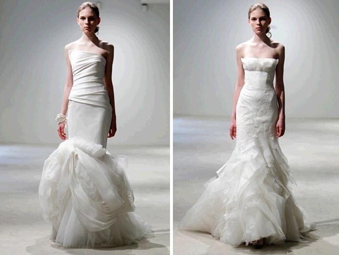 White modern mermaid wedding dresses by vera wang for Vera wang mermaid wedding dresses