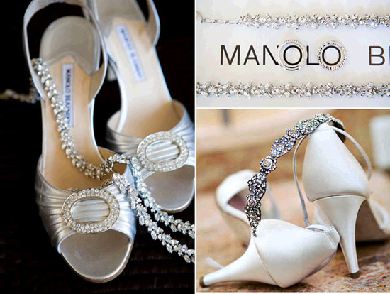 Gorgeous ivory satin Manolo Blahnik bridal heels with rhinestone brooches