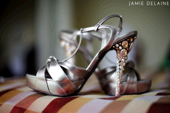 Wedding Heels With Rhinestones: Sky High Silver Platform Open Toe Bridal Heels With