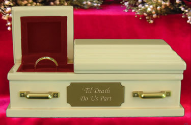 This ivory coffin symbolizes the death of a marriage and becomes a way to hold the wedding ring.