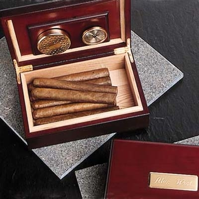If your dad (or soon to be dad-in-law) loves cigars, this personalized cherry wood humidor is the pe
