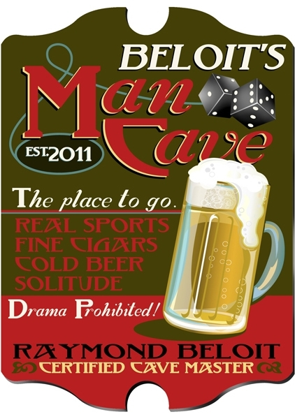 "This vintage ""Man Cave"" pub sign is perfect for your dad on Father's Day"