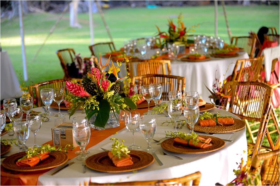 Tropical featured wedding orange hot pink bamboo wedding reception