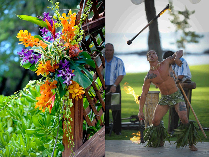 Bright purple and orange flowers at the beach wedding ceremony; fire dancer entertains at wedding re