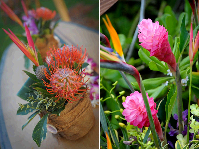 Vibrant tropical flowers were all the wedding reception decor this Maui destination wedding needed!