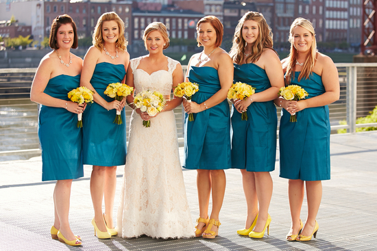 Cheerful Bridemaids with Blue Dresses and Yellow Accents
