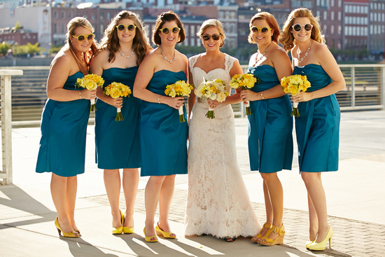 Cute Picture of Bridesmaids with Yellow Sunglasses
