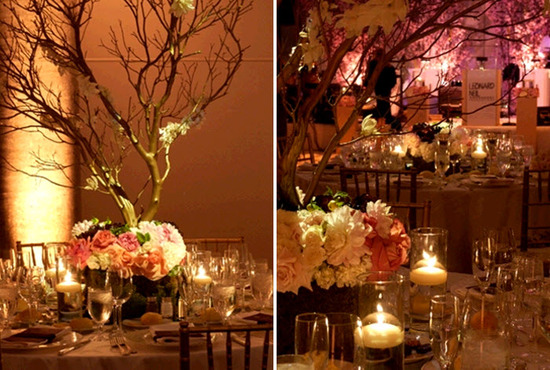 Romantic candlelit wedding reception- manzanita branches accented with antique gold, blush pink and