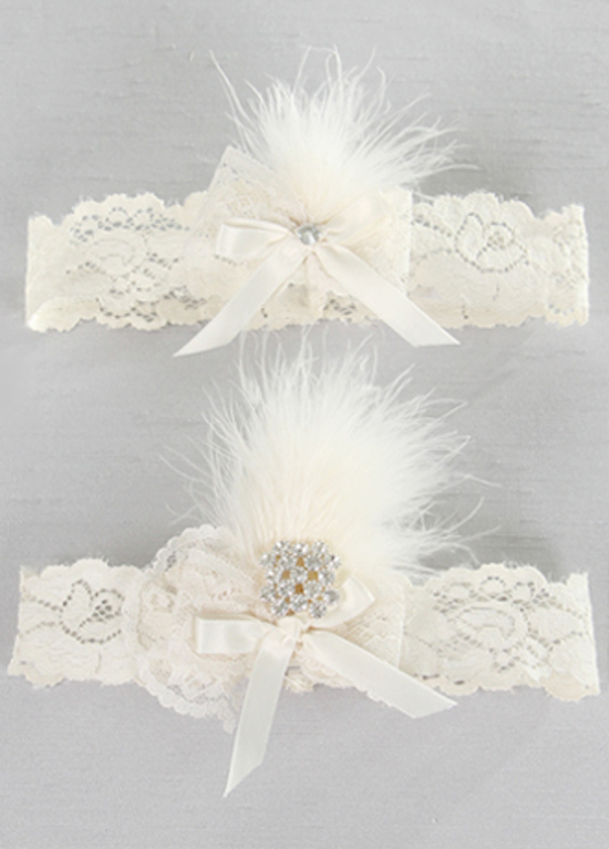 Lace Garter with Feather Details