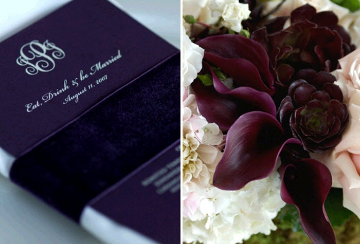 Deep purple calla lillies, and fancy monogrammed wedding programs
