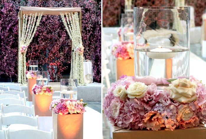 Chic-outdoor-california-wedding-strung-white-florals-hang-from-arbor-light-blush-pink-ivory-floral-centerpieces.full