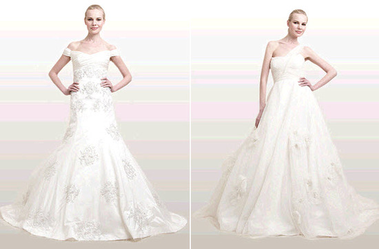 Modern, sophisticated Ann Frances wedding dresses- off the shoulder and asymmetric neckline