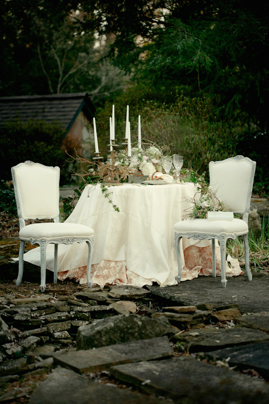 Perfectly Romantic Bride and Groom Table with Layered Tablecloth