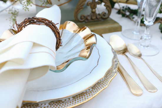 Vintage Inspired Table Setting with Gold Details and Branch Napkin Rings