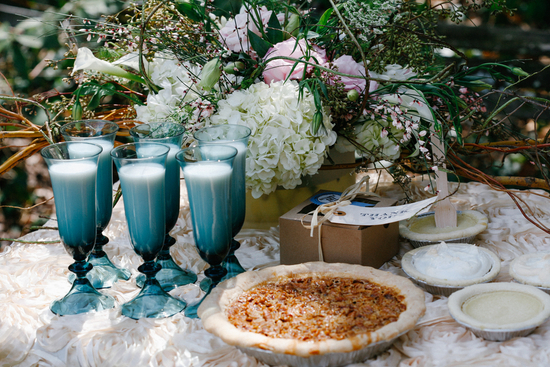 Delicious Pie Bar With Fresh Milk in Blue Stemware
