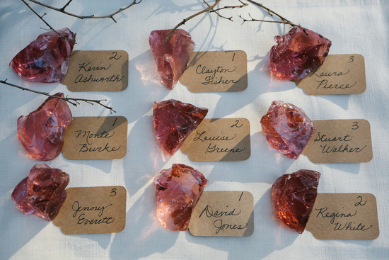 Escort Cards Topped with Antique Slag Glass
