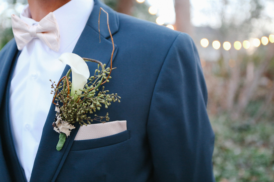 Groom Styled with White Calla Lily Boutonniere and Blush Pocket Square