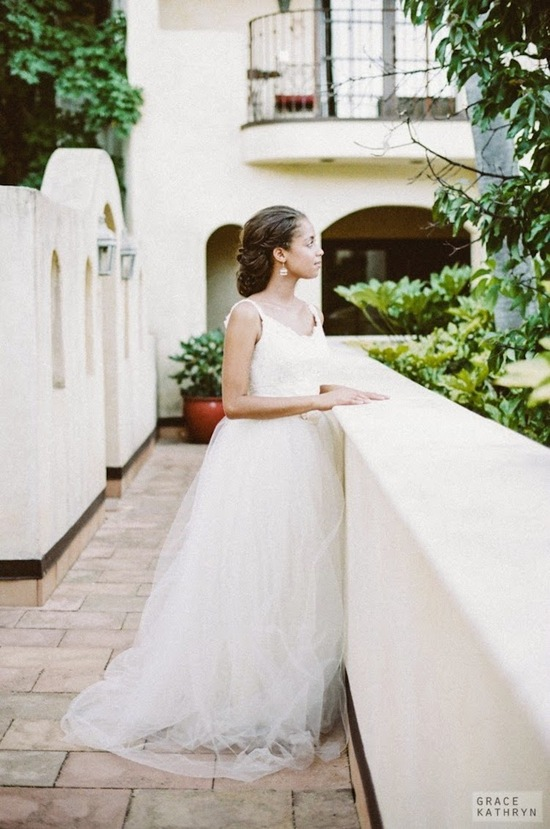 Beautiful Bride in a Flowing Tulle Gown