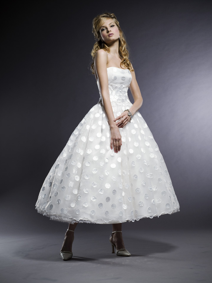 Gorgeous Michelle Roth Strapless Tea Length Wedding Dress With Full Ballgown Skirt Made From Dotted