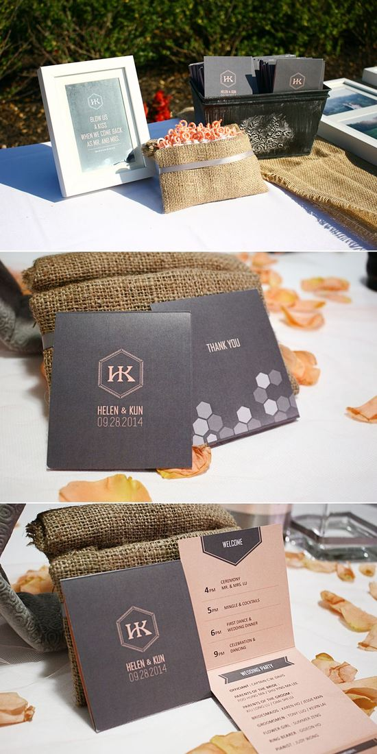 "Tri-fold wedding program cards designed in gray and peach color with the ""HK"" initials in signature hexagon"