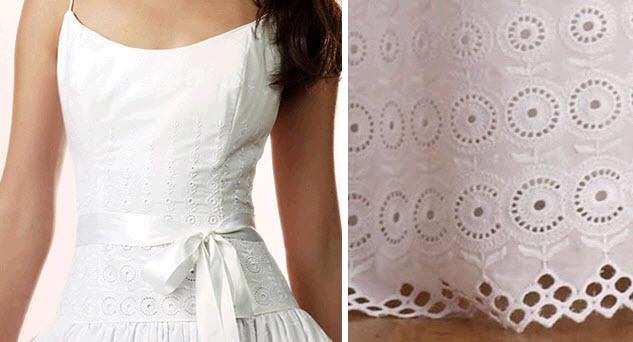 White Cotton Eyelet Wedding Dress With Satin Ribbon Sash