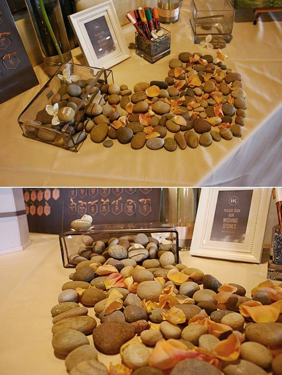 Stones for guests to sign and write their wishes as memories for the newly wed