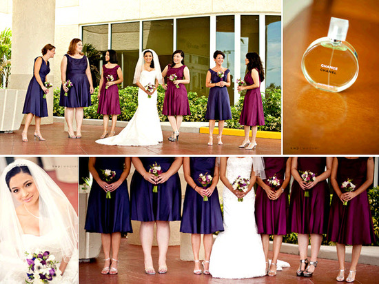 Bridesmaids Wear Wine And Concord Grape Bridesmaids