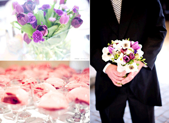 Purple-tulips-wedding-reception-table-centerpiece-groom-holds-brides-bouquet.full