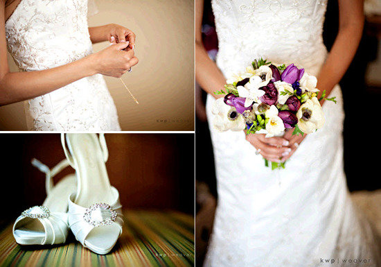 Bride in white beaded wedding dress holds rosary and purple and ivory bridal bouquet