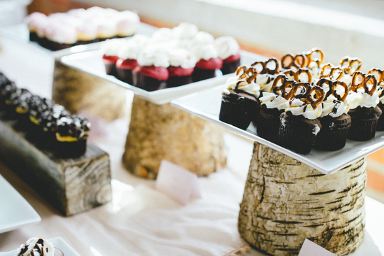Cupcakes Displayed on Tree Trunks