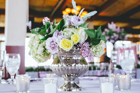 Elegant Centerpieces with Soft Purple and Yellow Roses