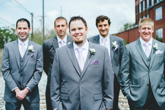 Groomsmen in Snazzy Gray Tuxes