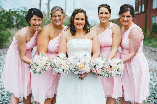 Pretty Maids in One Shouldered Pink Dresses