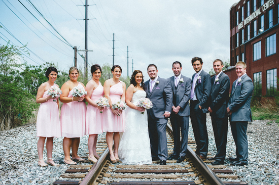 Wedding Party Photographed on Rail Road Tracks