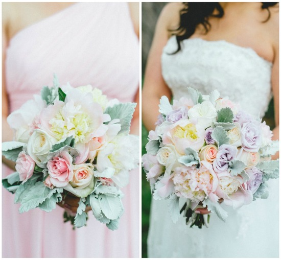 Soft Pastel Bride and Bridesmaid Bouquets