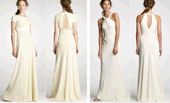 Vintage-inspired high neck champagne wedding dress with keyhole back; halter white wedding dress