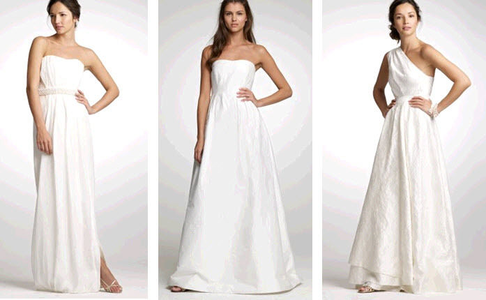 Minimal white J.Crew wedding dresses that can be jazzed up with bold accessories