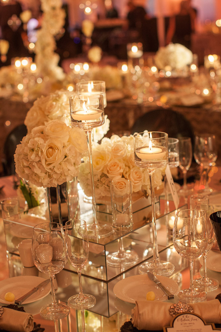 Tall Candle Votives White ROses and Mirrored Stands for ...