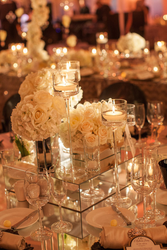 Tall Candle Votives White ROses and Mirrored Stands for Reception Centerpieces