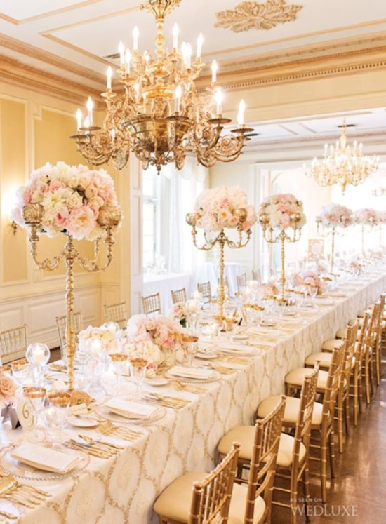 Glam Candelabra Centerpieces Topped with Flowers